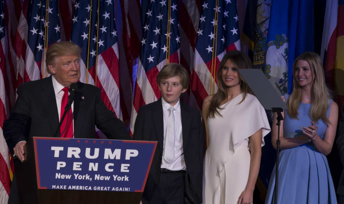 Melania and Donald Trump and family