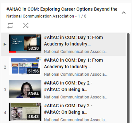 Screenshot of video playlist