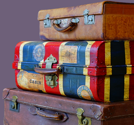 Suitcases stacked on each other