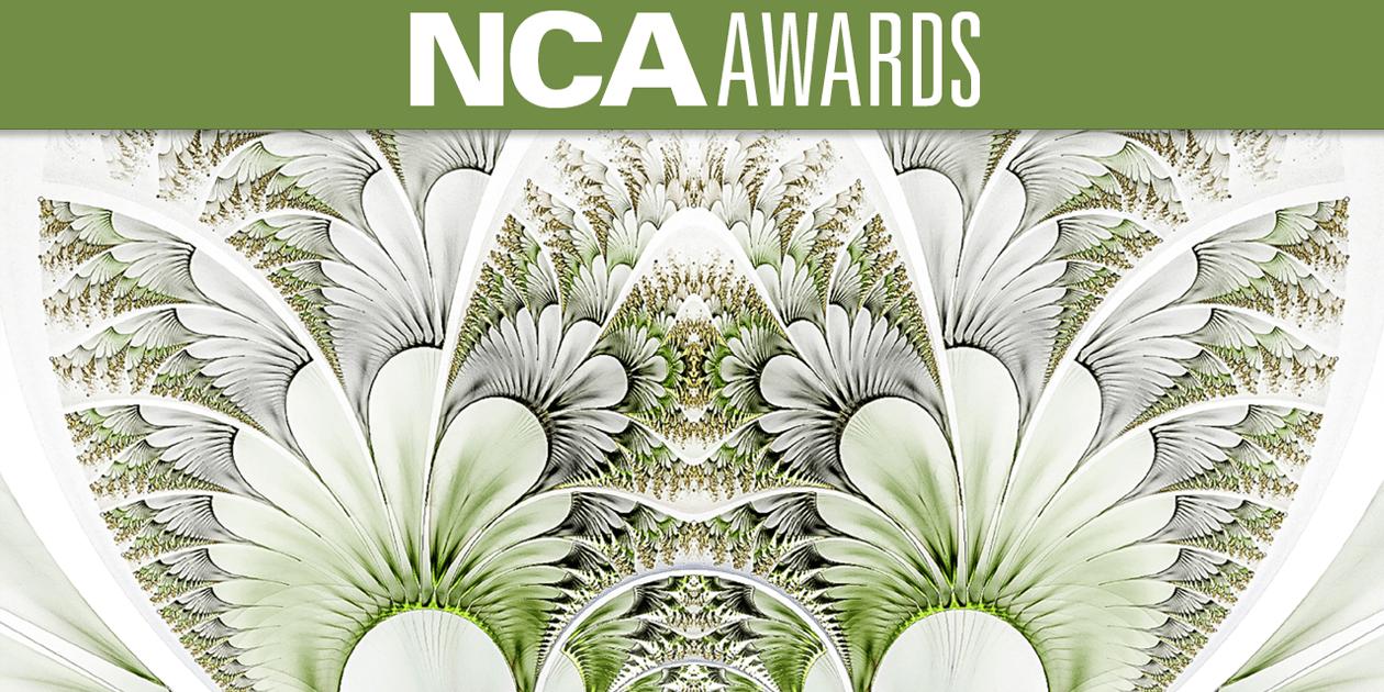 Abstract art with headline NCA Awards