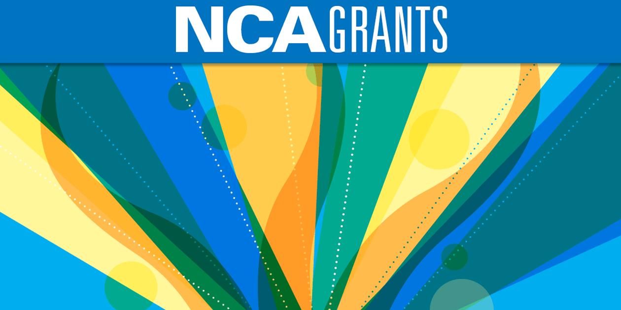 Abstract art with headline NCA Grants