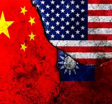 Cracks in the wall. Flags: USA, China, Taiwan