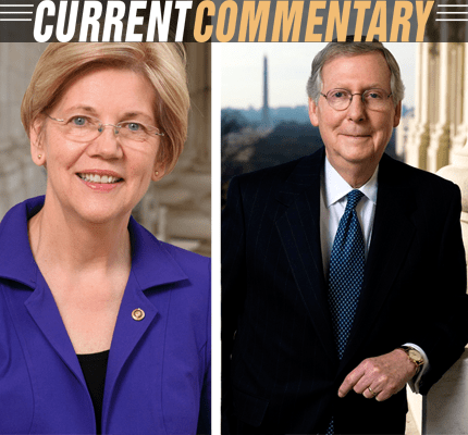 Photo of senators Warren and McConnell