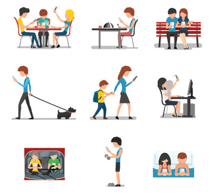 Cartoon images of people doing various activites