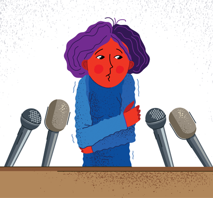 Cartoon drawing of a person shaking behind a podium with microphones