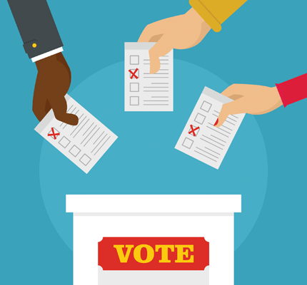 Hands putting ballots in vote box