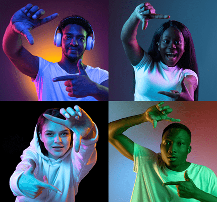 Four square images of performers on screen