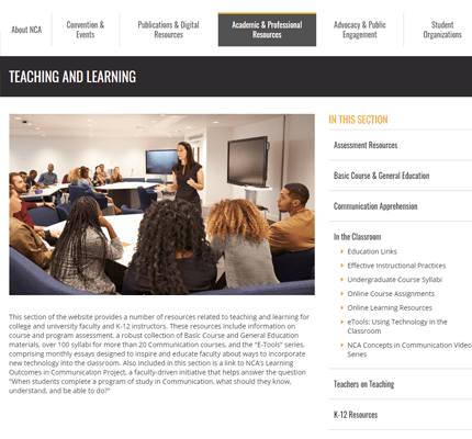 Screenshot of NCA Teaching and Learning webpage