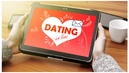 Person using a dating app on tablet
