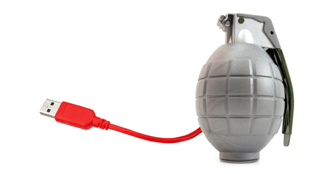 Photo of a fake grenade attached to USB cord