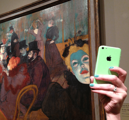 Selfie in front of artwork