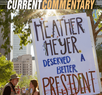 Protest sign supporting Heather Heyer