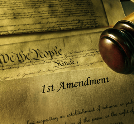 First Amendment of the US Constitution with court gavel