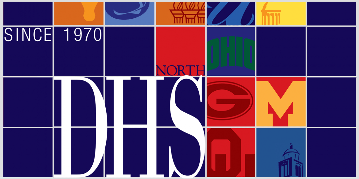 "Collage of university logos and the letters ""DHS"""