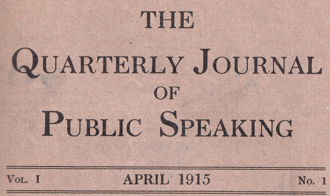 Cover of 1915 issue of Quarterly Journal of Public Speaking